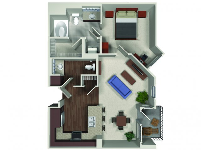 One bedroom one and a half bathroom A8 floor plan at Carabella at Warner Center Apartments in Woodland Hills, CA
