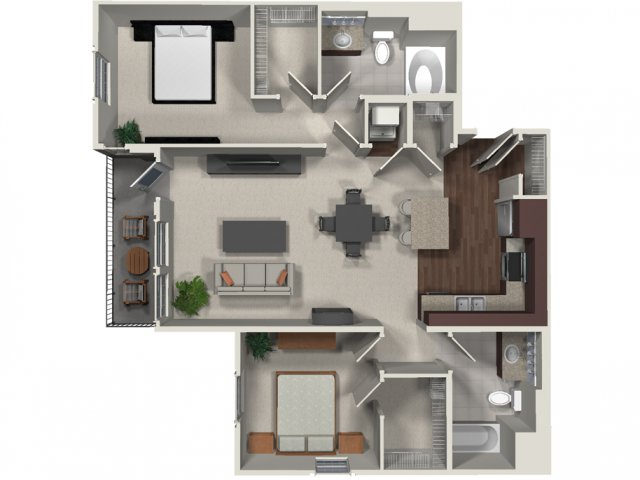 Two bedroom two bathroom B2 floor plan at Carabella at Warner Center Apartments in Woodland Hills, CA
