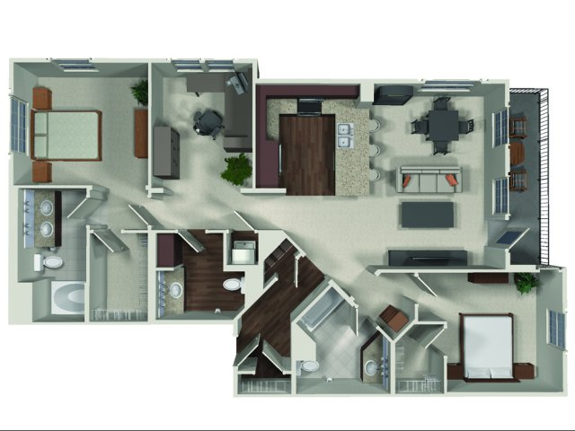 Two bedroom two and a half bathroom B5 floor plan at Carabella at Warner Center Apartments in Woodland Hills, CA