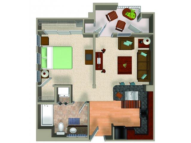 Studio A1 floorplan at Carillon Apartments in Woodland Hills, CA