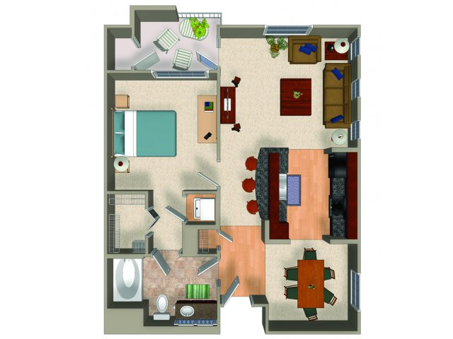 One bedroom one bathroom A2 floor plan at Carillon Apartments in Woodland Hills, CA