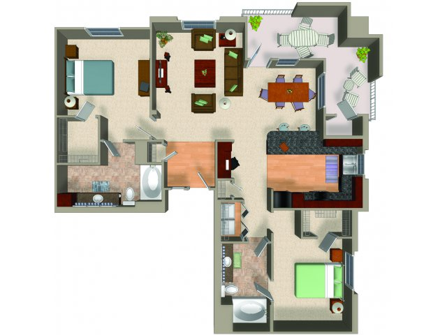 Two bedroom two bathroom B3 floor plan at Carillon Apartments in Woodland Hills, CA