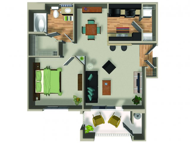 1 Bedroom 1 Bath A1 Floorplan at Dakota Apartments in Winchester, CA