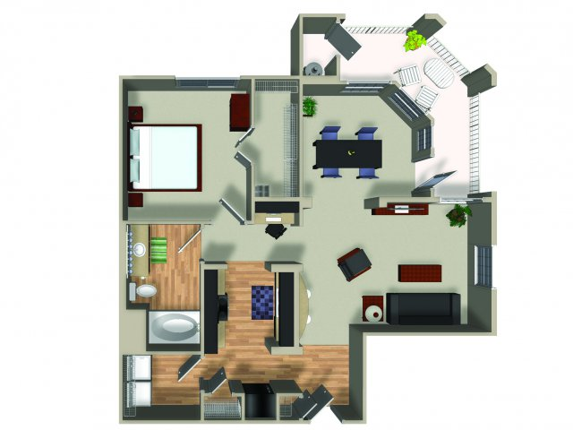 1 Bedroom 1 Bath A22 Floorplan at Dakota Apartments in Winchester, CA