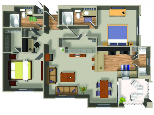 2 Bedroom 2 Bath B3 Floorplan at Dakota Apartments in Winchester, CA
