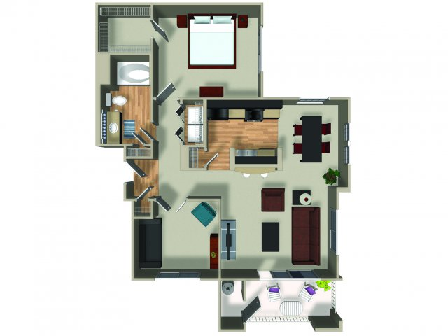1 Bedroom 1 Bath A3 Floorplan at Dakota Apartments in Winchester, CA