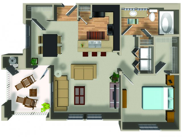 1 Bedroom 1 Bath A13 Floorplan at Dakota Apartments in Winchester, CA