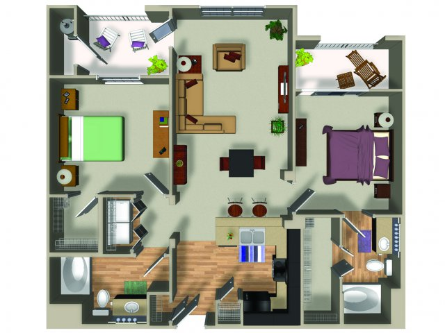2 Bedroom 2 Bath B1 Floorplan at Dakota Apartments in Winchester, CA