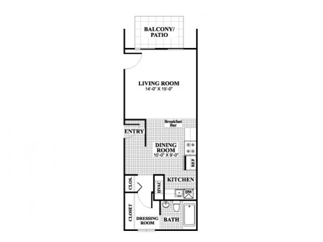 Studio one bathroom Elmhurst floorplan at University Heights Apartments in Providence, RI