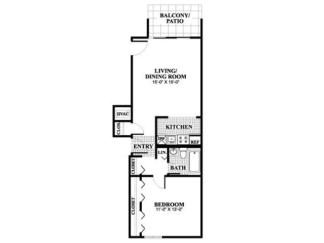 One bedroom one bathroom Wickenden floorplan at University Heights Apartments in Providence, RI