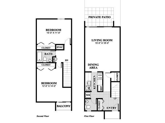 Two bedroom one and a half bathroom Blackstone floorplan at University Heights Apartments in Providence, RI