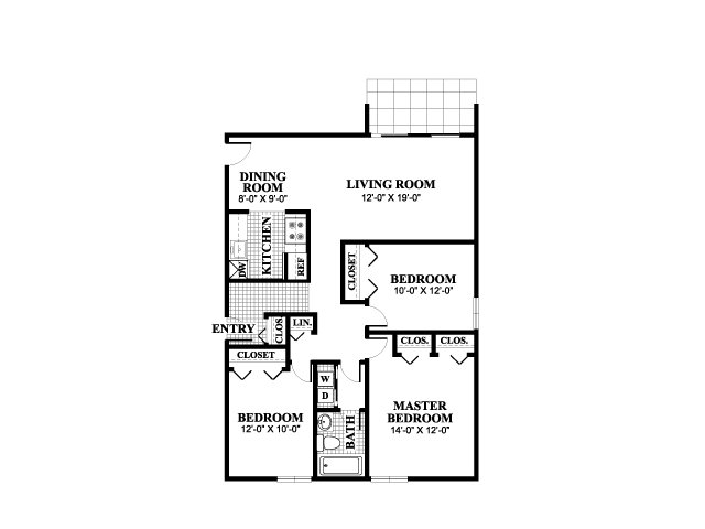 Three bedroom one bathroom Elmwood floorplan at University Heights Apartments in Providence, RI