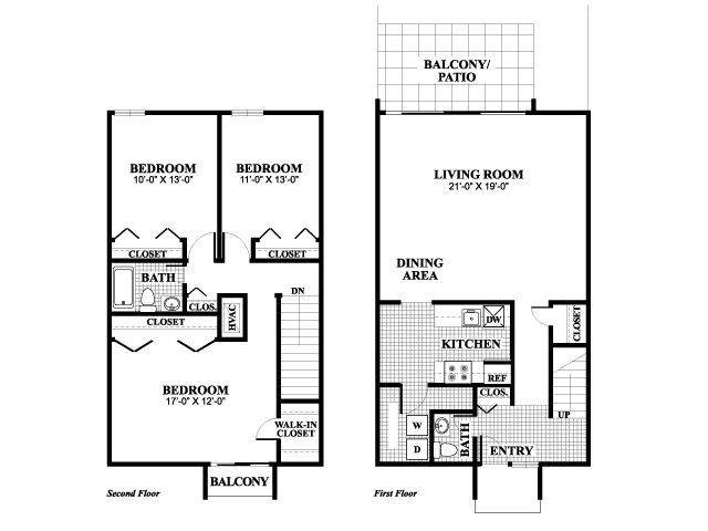 Three bedroom one and a half bathroom LaSalle floorplan at University Heights Apartments in Providence, RI