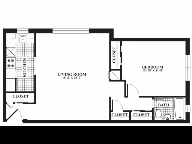 One bedroom one bathroom A1 floorplan at The Barrington Apartments in Silver Spring, MD