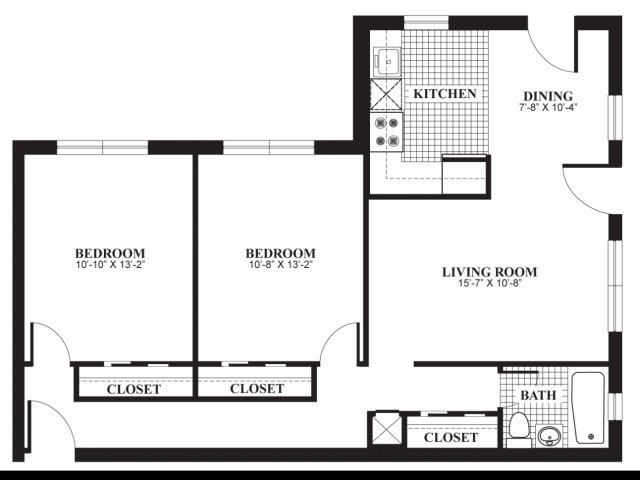 Two bedroom one bathroom B1 floorplan at The Barrington Apartments in Silver Spring, MD