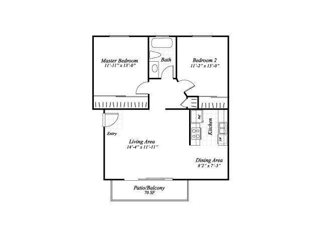 Two bedroom one bathroom B1 floorplan at Wyndover Apartment Homes in Novato, CA