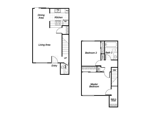 Two bedroom one and a half bathroom B3 floorplan at Westchester Park Apartments in Tustin, CA