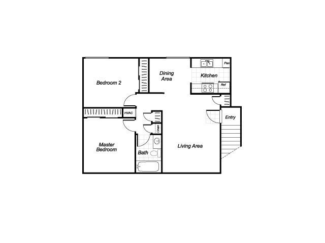 Two bedroom one bathroom B2 floorplan at Westchester Park Apartments in Tustin, CA