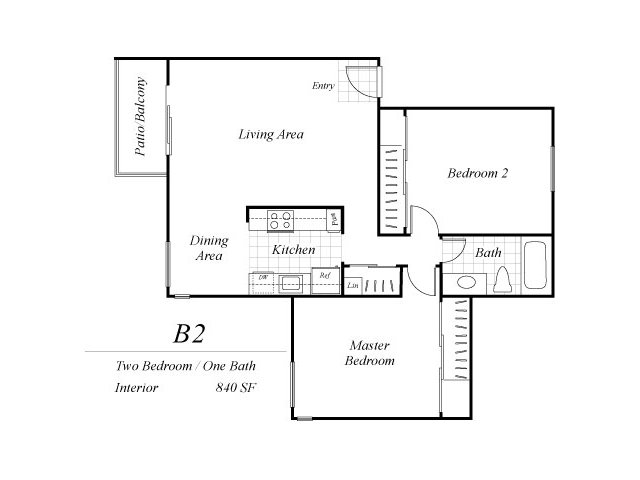 Two bedroom one bathroom B2 floor plan at Baycliff Apartments in Richmond, CA