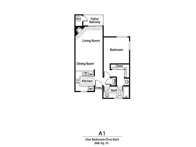One bedroom one bathroom A1 Floorplan at Ellington Apartment Homes in Davis, CA