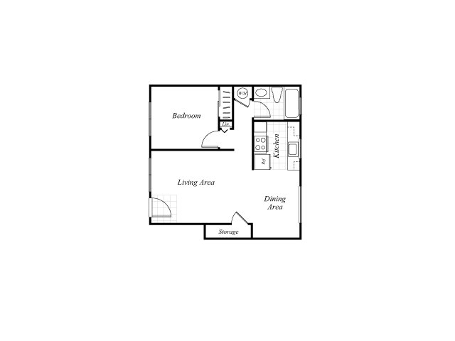 One bedroom one bathroom A1 floorplan at Trestles Apartments in San Jose, CA