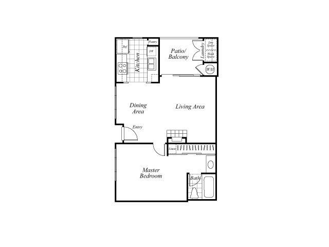 One bedroom one bathroom A1 floorplan at Westbrook Apartments in San Diego, CA