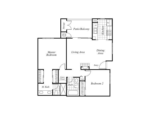 Two bedroom two bathroom B1 floorplan at Westbrook Apartments in San Diego, CA