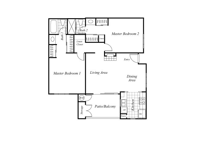 Two bedroom two bathroom B2 floorplan at Westbrook Apartments in San Diego, CA