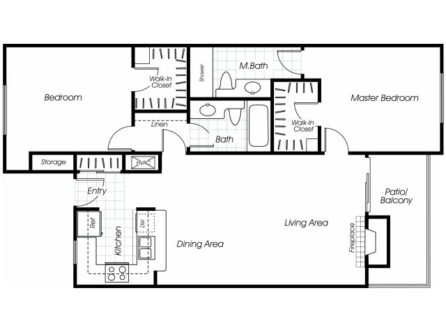 Two bedroom two bathroom B2 floor plan at Belmont Apartment Homes in Pittsburg, CA