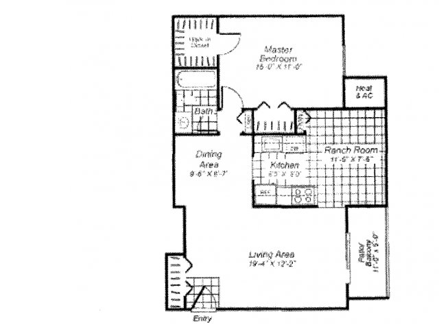 One bedroom one bathroom A1 Floorplan at Oakfield Apartment Homes in Wheaton, MD