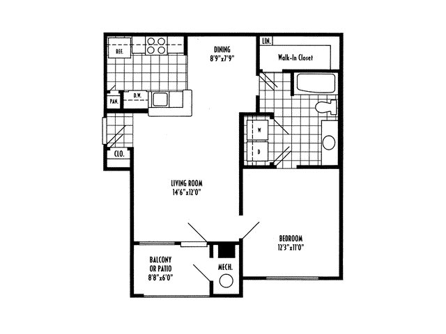 One bedroom one bathroom A1 Floorplan at River Pointe at Den Rock Apartments in Lawrence, MA