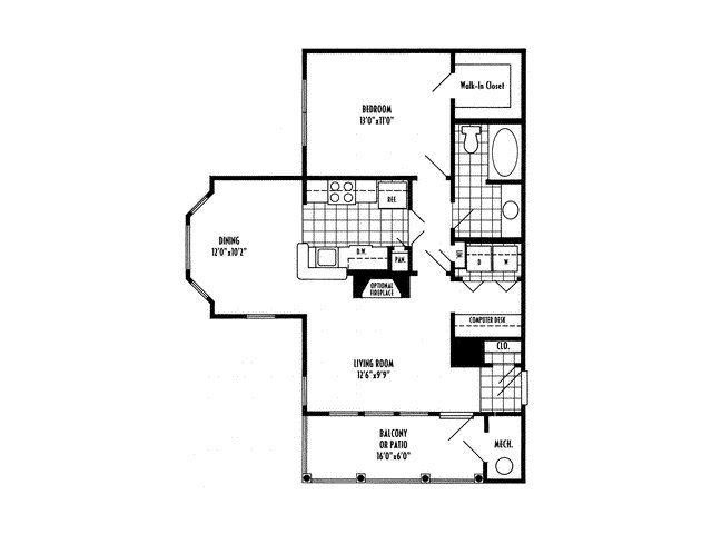 One bedroom one bathroom A2 Floorplan at River Pointe at Den Rock Apartments in Lawrence, MA