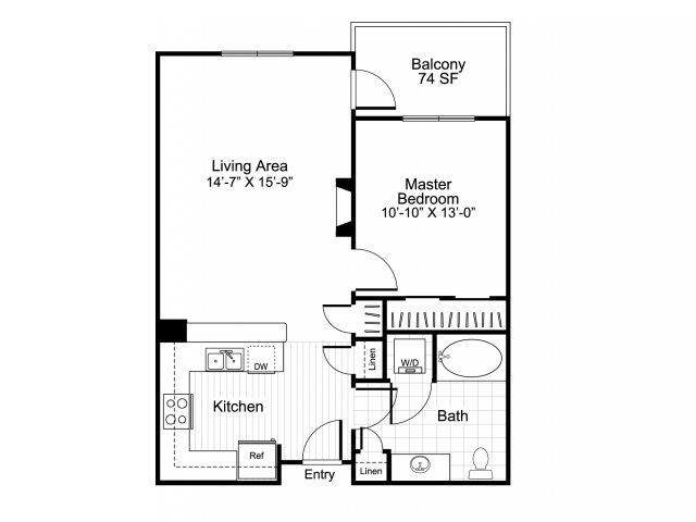 1 bedroom 1 bathroom apartment A4 floor plan at Talavera Apartments in Denver, CO