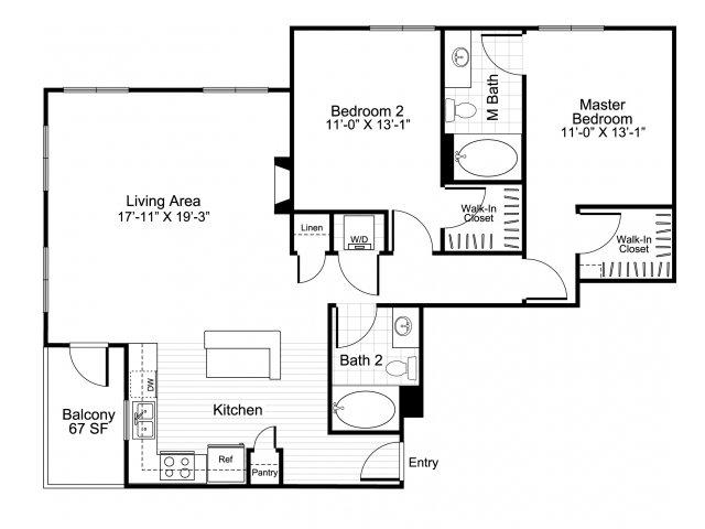 2 bedroom 2 bathroom apartment B6 floor plan at Talavera Apartments in Denver, CO
