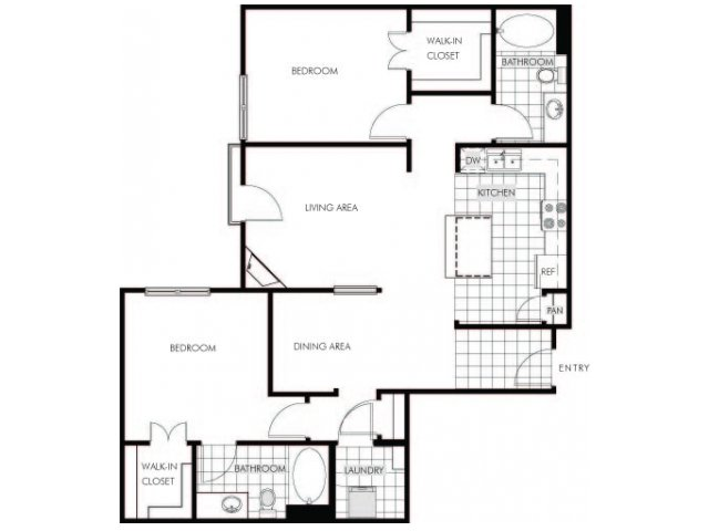 2 bedroom 2 bathroom apartment B4 floor plan at Talavera Apartments in Denver, CO