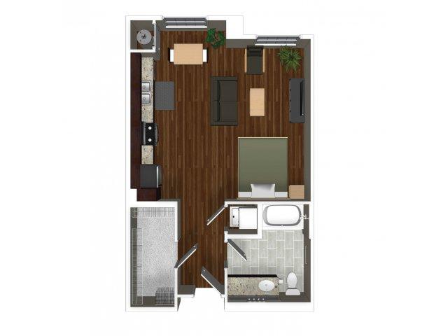 Studio one bathroom A0 floor plan at Cerano Apartments in Milpitas, CA