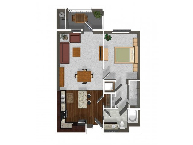One bedroom one bathroom A2 floor plan at Cerano Apartments in Milpitas, CA