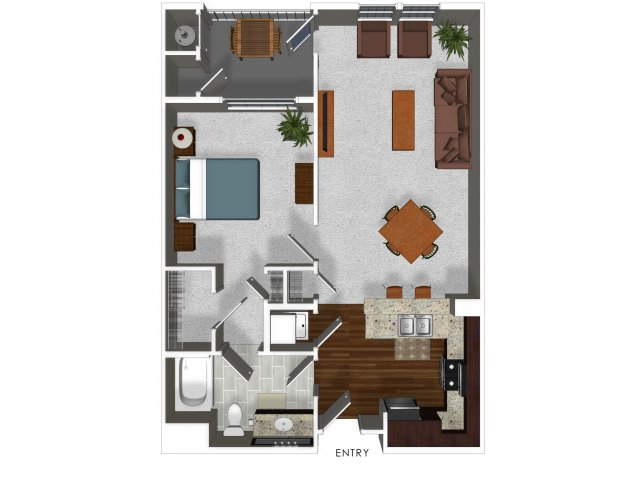 One bedroom one bathroom A4 floor plan at Cerano Apartments in Milpitas, CA