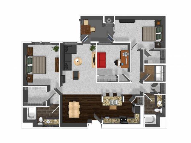 Three bedroom two bathroom C1 floor plan at Cerano Apartments in Milpitas, CA