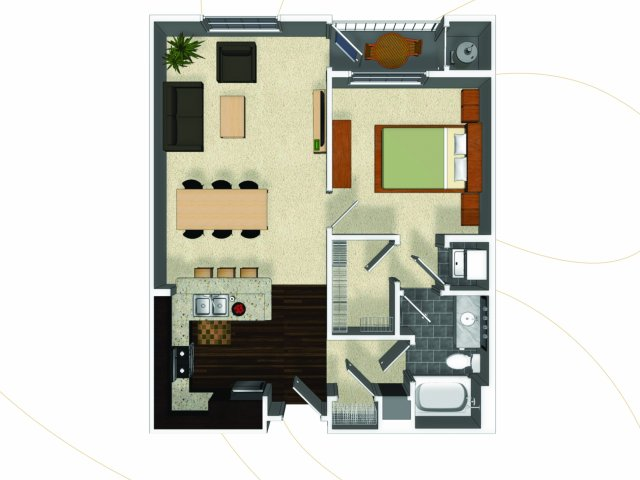 One bedroom one bathroom A1 floorplan at The Enclave at Potomac Club Apartments in Woodbridge, VA
