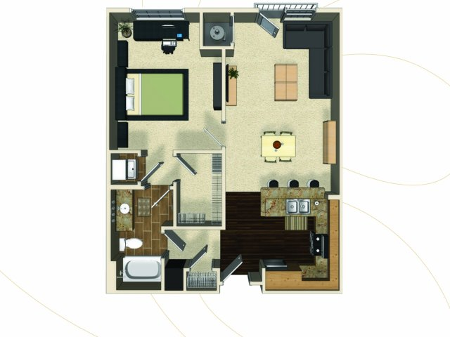 One bedroom one bathroom A9 floorplan at The Enclave at Potomac Club Apartments in Woodbridge, VA