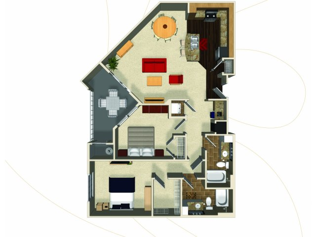 Two bedroom two bathroom B1 floorplan at The Enclave at Potomac Club Apartments in Woodbridge, VA