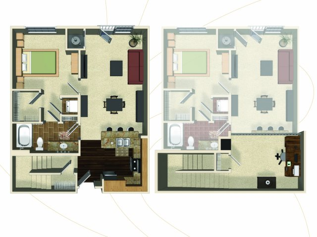 One bedroom one bathroom A10L floorplan at The Enclave at Potomac Club Apartments in Woodbridge, VA
