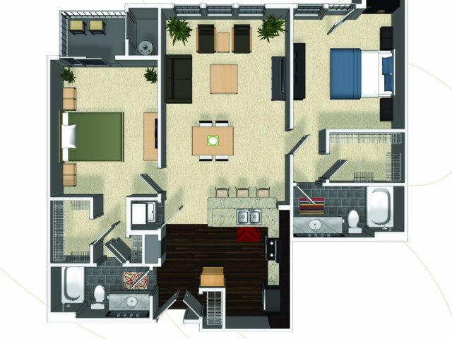 Two bedroom two bathroom B2 floorplan at The Enclave at Potomac Club Apartments in Woodbridge, VA