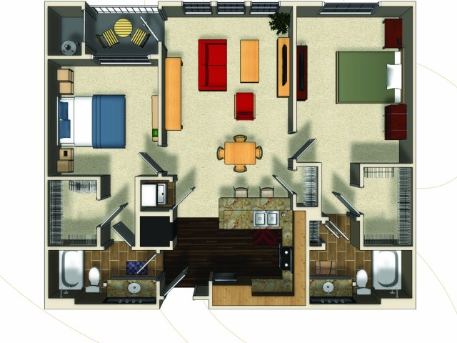 Two bedroom two bathroom B3 floorplan at The Enclave at Potomac Club Apartments in Woodbridge, VA