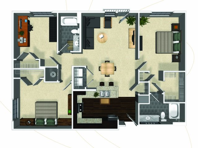 Three bedroom two bathroom C1 floorplan at The Enclave at Potomac Club Apartments in Woodbridge, VA