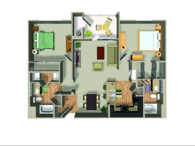 2 Bedroom 2 Bath B22 Floorplan at Dakota Apartments in Winchester, CA