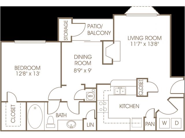 One bedroom one bathroom A1 floorplan at Stonewood at Vinings Apartments in Atlanta, GA