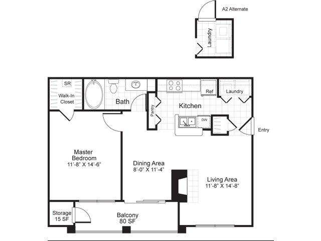 One bedroom one bathroom A2 floorplan at Atera Apartments in Dallas, TX