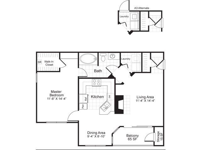 One bedroom one bathroom A3 floorplan at Atera Apartments in Dallas, TX